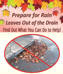 Prepare for Rain. Leaves out of the Drain